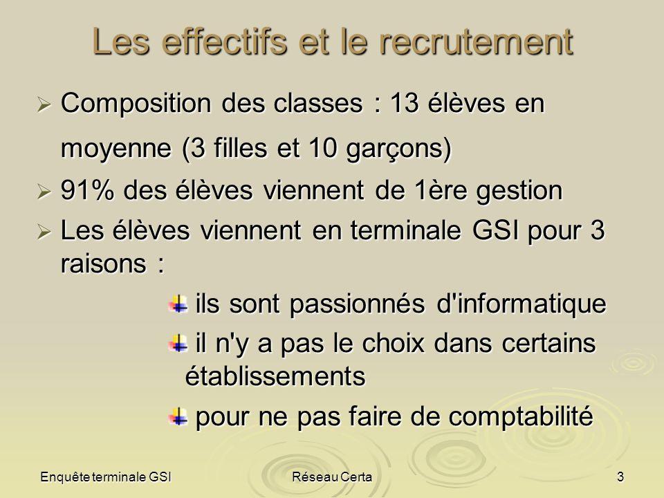 Enquête terminale GSIRéseau Certa3 Les effectifs et le recrutement Composition des classes : 13 élèves en moyenne (3 filles et 10 garçons) Composition