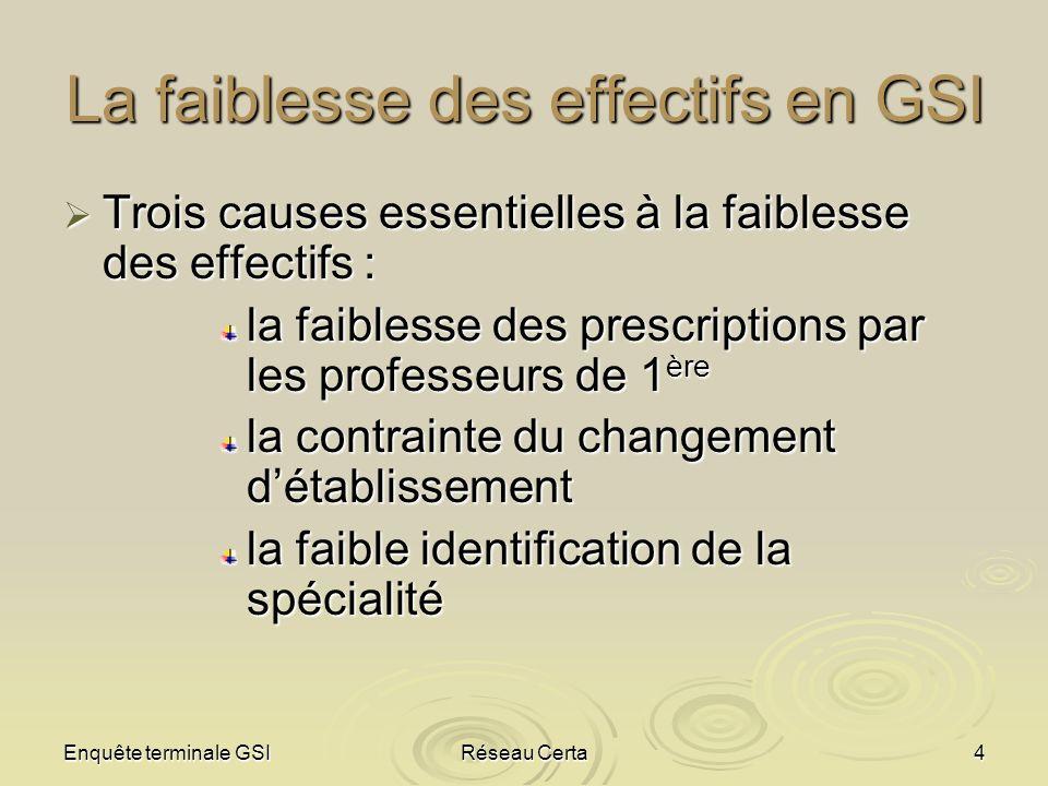 Enquête terminale GSIRéseau Certa4 La faiblesse des effectifs en GSI Trois causes essentielles à la faiblesse des effectifs : Trois causes essentielle