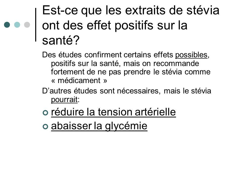 Est-ce que les extraits de stévia ont des effet positifs sur la santé? Des études confirment certains effets possibles, positifs sur la santé, mais on