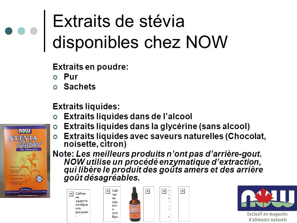 Extraits de stévia disponibles chez NOW Extraits en poudre: Pur Sachets Extraits liquides: Extraits liquides dans de lalcool Extraits liquides dans la