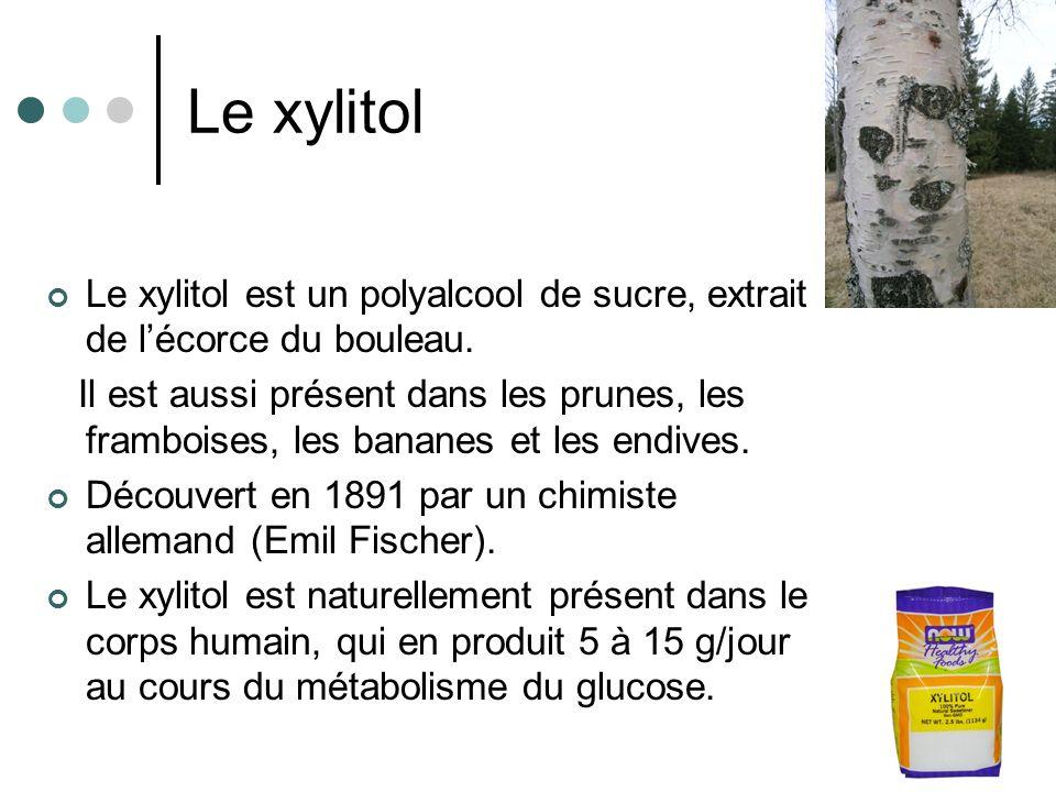 Le xylitol Le xylitol est un polyalcool de sucre, extrait de lécorce du bouleau. Il est aussi présent dans les prunes, les framboises, les bananes et