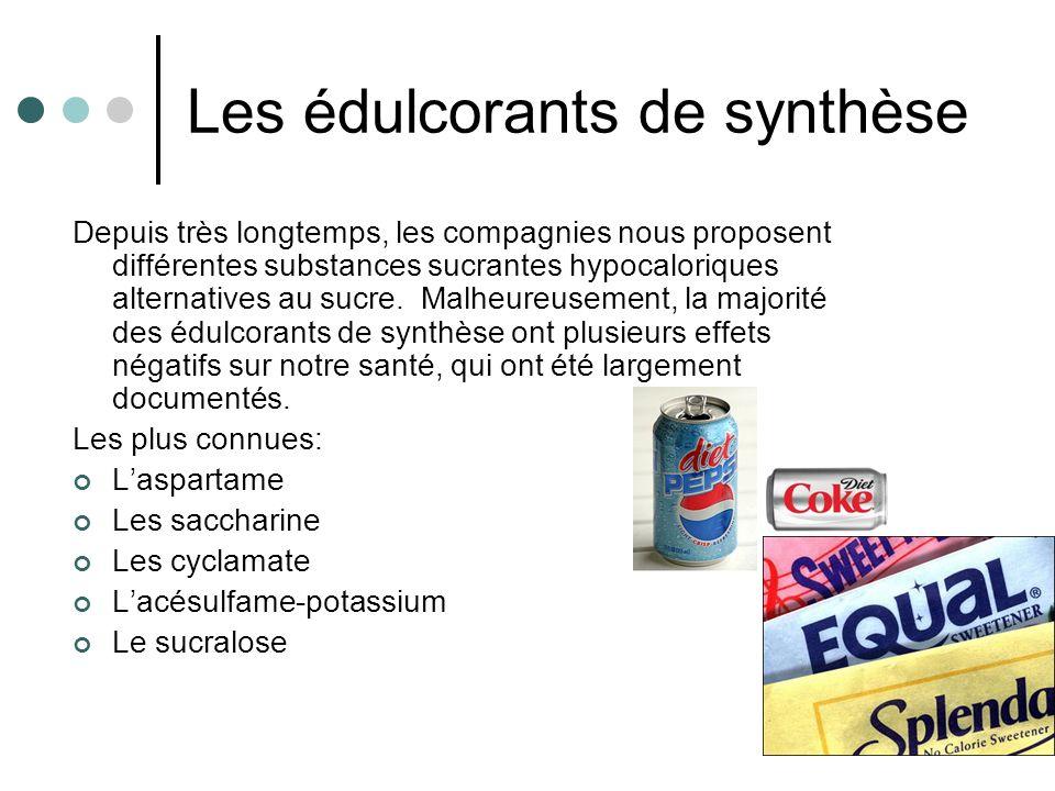Les édulcorants de synthèse Depuis très longtemps, les compagnies nous proposent différentes substances sucrantes hypocaloriques alternatives au sucre