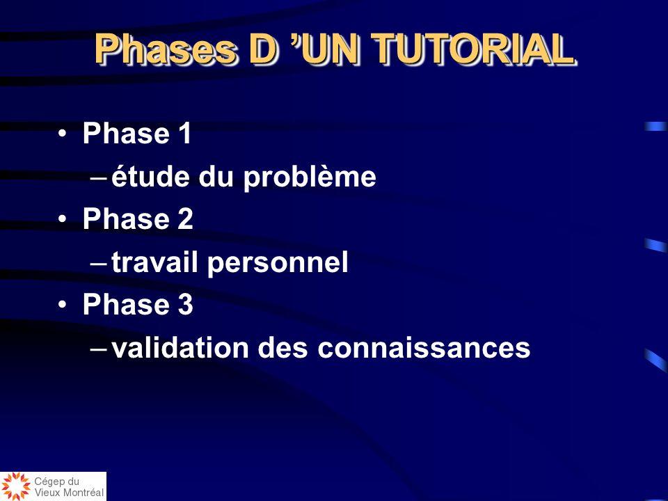 Processus d un tutorial d APP Processus d apprentissage très structuré qui utilise à la fois le travail en groupe et le travail individuel Processus d