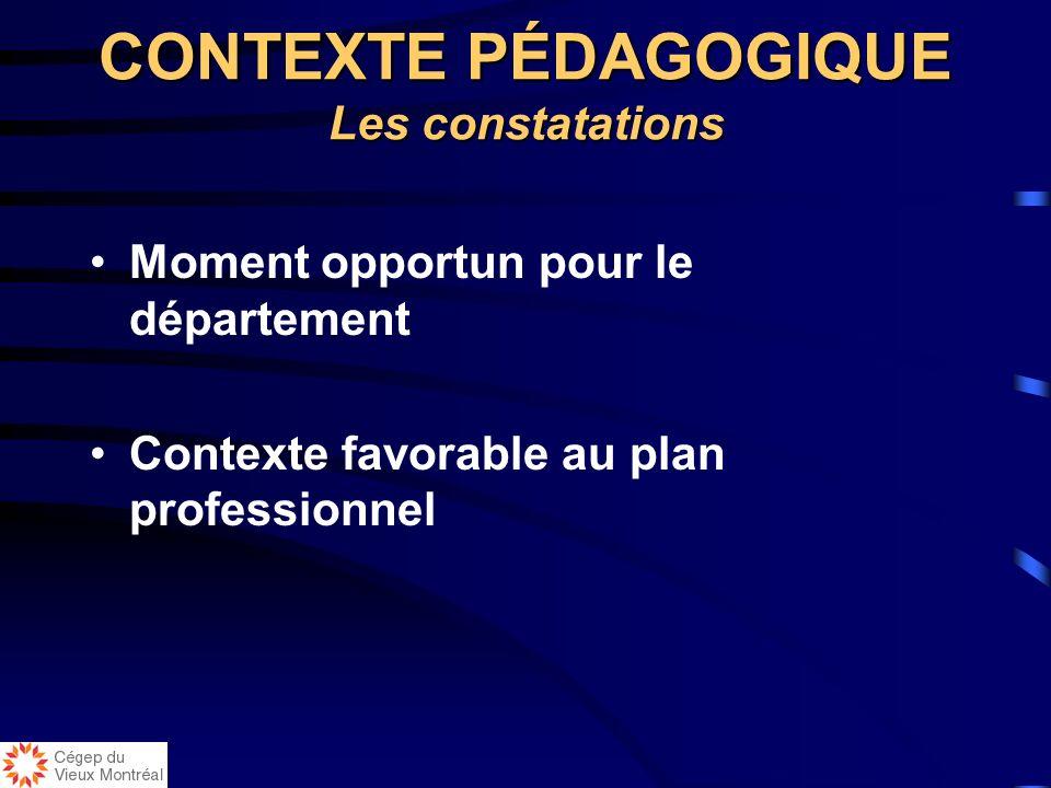 Moment opportun pour le département Contexte favorable au plan professionnel CONTEXTE PÉDAGOGIQUE Les constatations