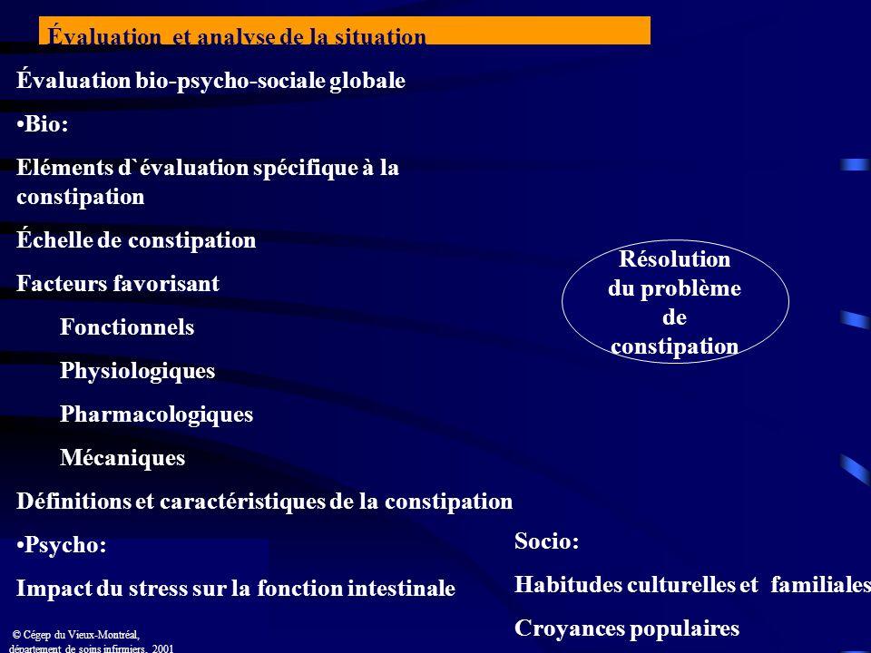 Évaluation bio-psycho-sociale globale Bio: Eléments d`évaluation spécifique à la constipation Échelle de constipation Facteurs favorisant Fonctionnels