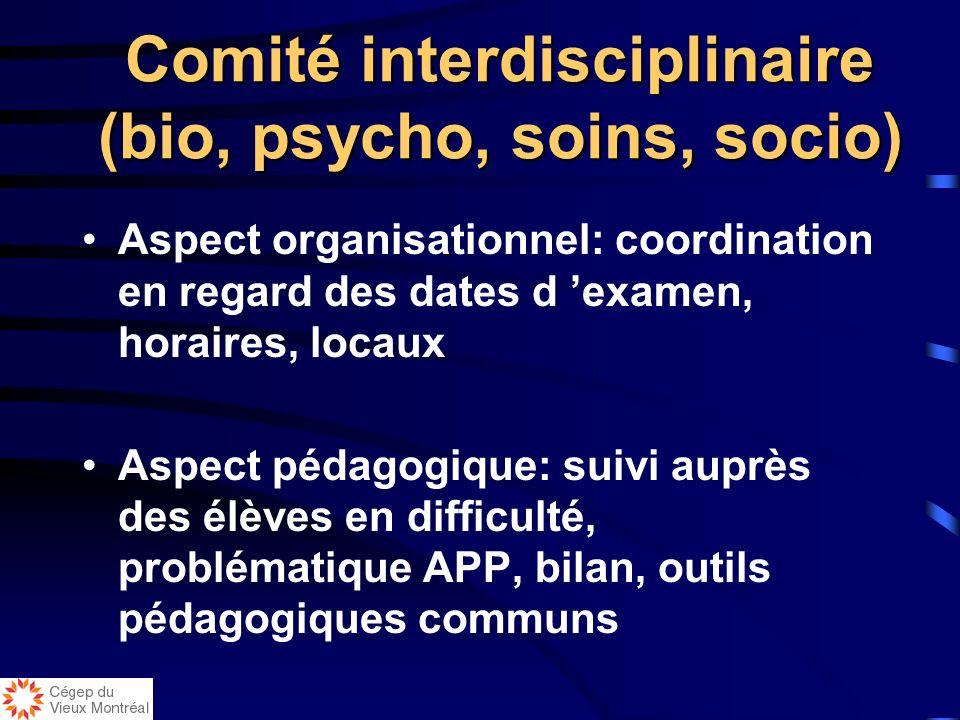 Comité de validation des problèmes Composé de l équipe inter (bio, psycho, socio et soins) Reçoit les problèmes et les valide en fonction des critères
