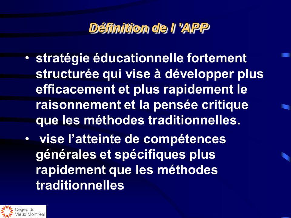 Définition de l APP Définition de l APP stratégie éducationnelle fortement structurée qui vise à développer plus efficacement et plus rapidement le raisonnement et la pensée critique que les méthodes traditionnelles.