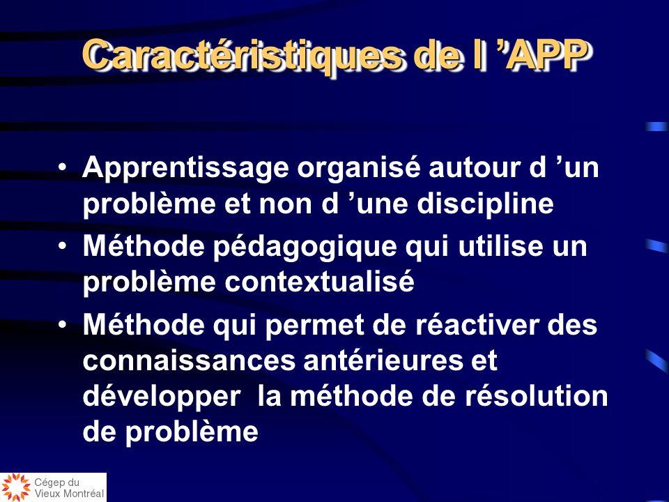 Caractéristiques de l APP Apprentissage organisé autour d un problème et non d une discipline Méthode pédagogique qui utilise un problème contextualisé Méthode qui permet de réactiver des connaissances antérieures et développer la méthode de résolution de problème