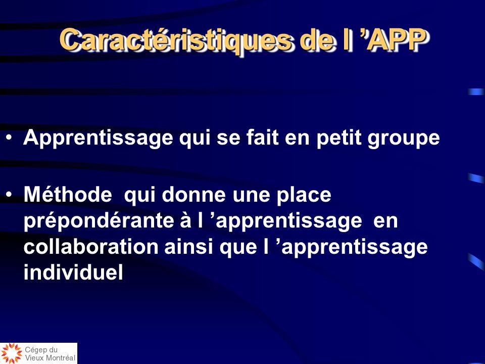 Caractéristiques de l APP Apprentissage organisé autour d un problème et non d une discipline Méthode pédagogique qui utilise un problème contextualis