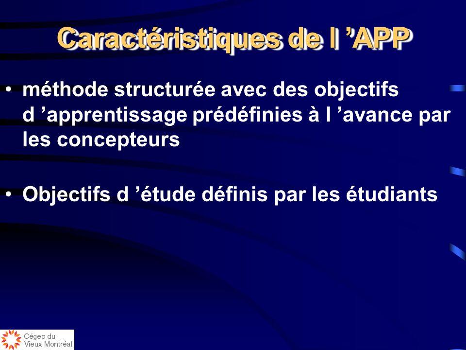 Caractéristiques de l APP méthode structurée avec des objectifs d apprentissage prédéfinies à l avance par les concepteurs Objectifs d étude définis par les étudiants