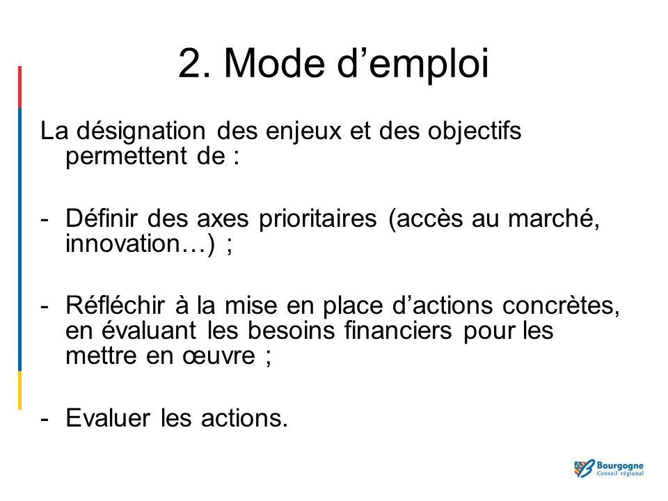2. Mode demploi La désignation des enjeux et des objectifs permettent de : -Définir des axes prioritaires (accès au marché, innovation…) ; -Réfléchir