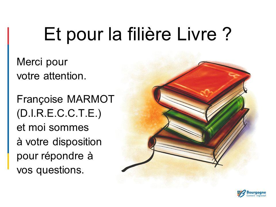 Et pour la filière Livre ? Merci pour votre attention. Françoise MARMOT (D.I.R.E.C.C.T.E.) et moi sommes à votre disposition pour répondre à vos quest