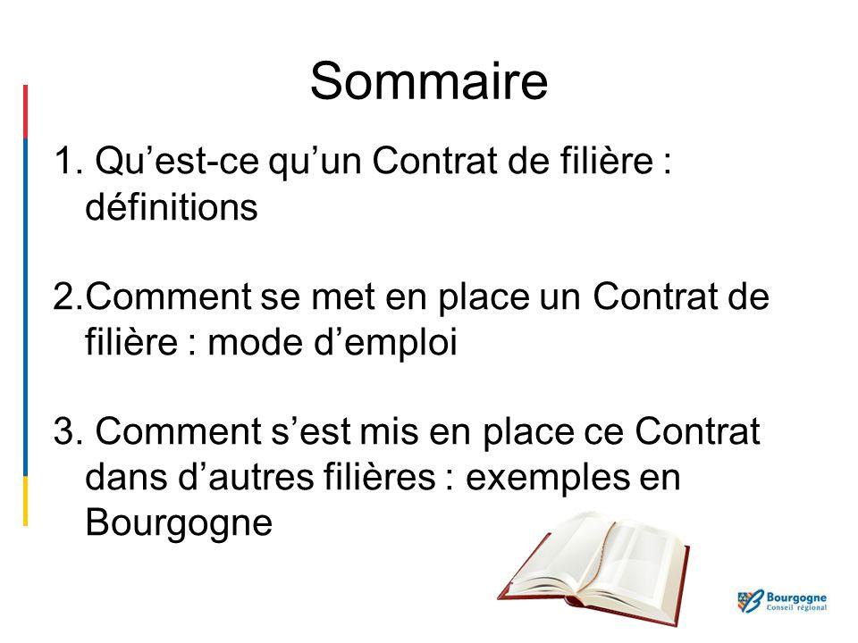 Sommaire 1. Quest-ce quun Contrat de filière : définitions 2.Comment se met en place un Contrat de filière : mode demploi 3. Comment sest mis en place