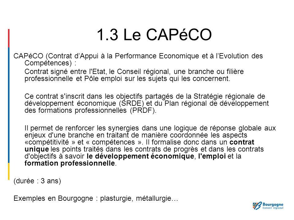 CAPéCO (Contrat dAppui à la Performance Economique et à lEvolution des Compétences) : Contrat signé entre l'Etat, le Conseil régional, une branche ou