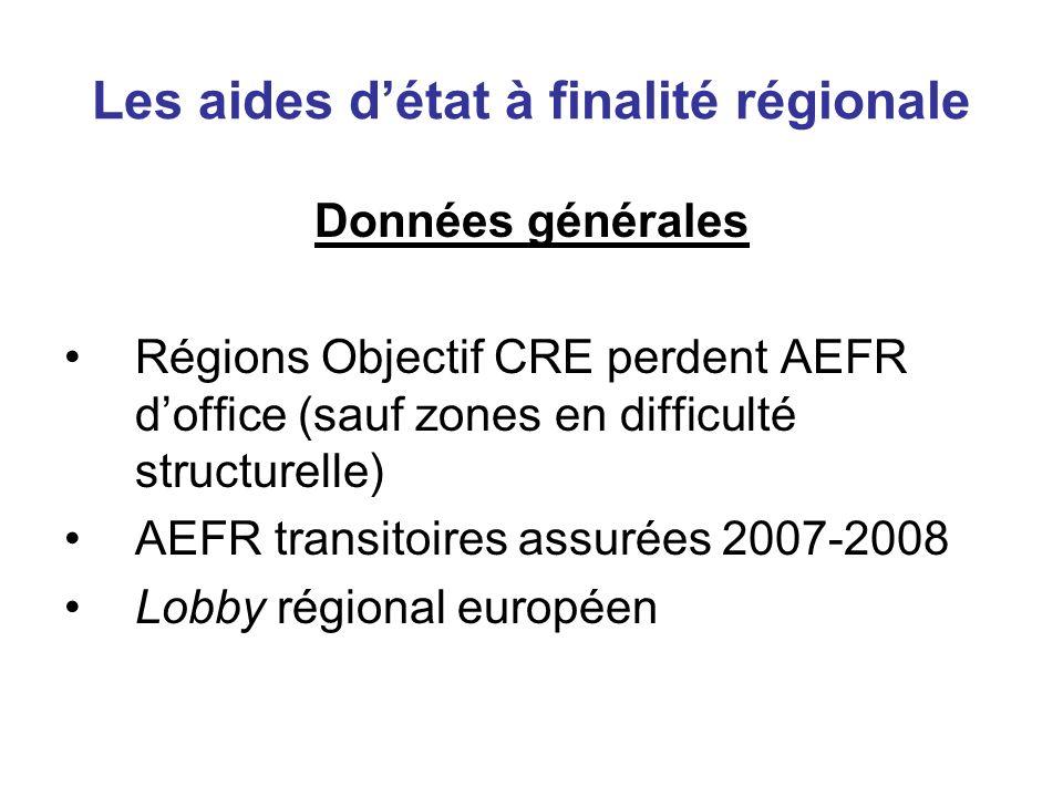 Les aides détat à finalité régionale Données générales Régions Objectif CRE perdent AEFR doffice (sauf zones en difficulté structurelle) AEFR transito