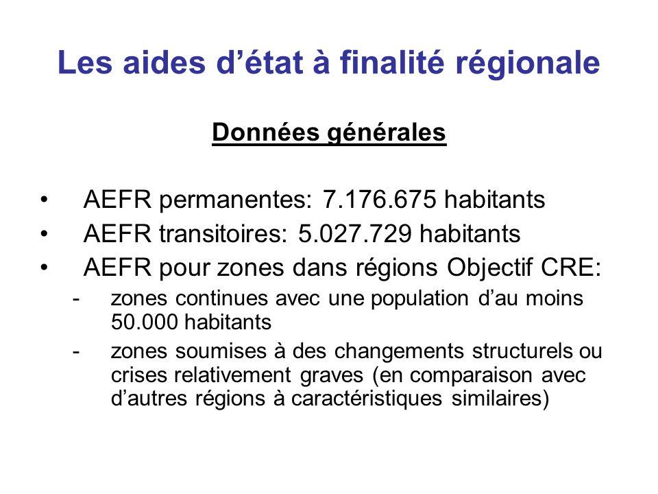 Les aides détat à finalité régionale Données générales AEFR permanentes: 7.176.675 habitants AEFR transitoires: 5.027.729 habitants AEFR pour zones da