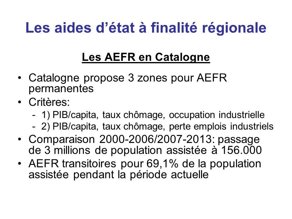 Les aides détat à finalité régionale Les AEFR en Catalogne Catalogne propose 3 zones pour AEFR permanentes Critères: -1) PIB/capita, taux chômage, occ