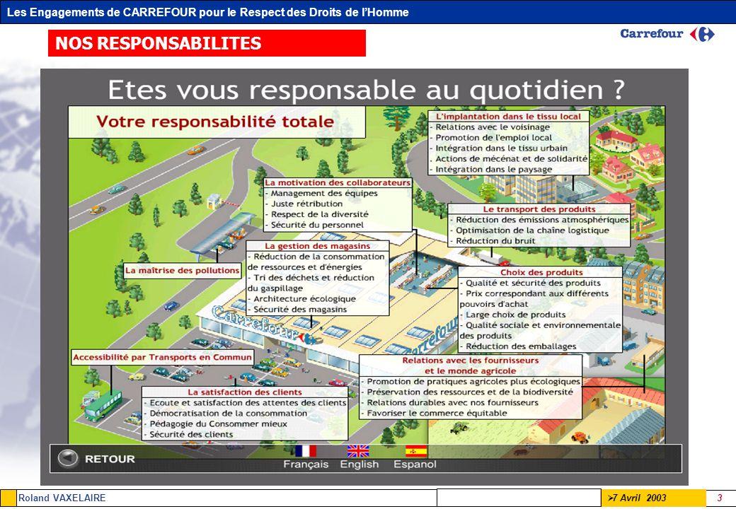 Les Engagements de CARREFOUR pour le Respect des Droits de lHomme Roland VAXELAIRE 3 7 Avril 2003 NOS RESPONSABILITES