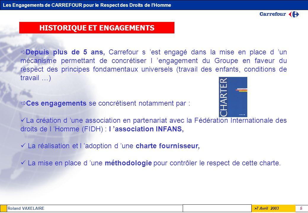 Les Engagements de CARREFOUR pour le Respect des Droits de lHomme Roland VAXELAIRE 5 7 Avril 2003 HISTORIQUE ET ENGAGEMENTS Depuis plus de 5 ans, Carr