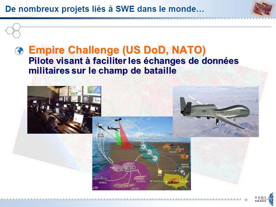 10 De nombreux projets liés à SWE dans le monde… Empire Challenge (US DoD, NATO) Pilote visant à faciliter les échanges de données militaires sur le c