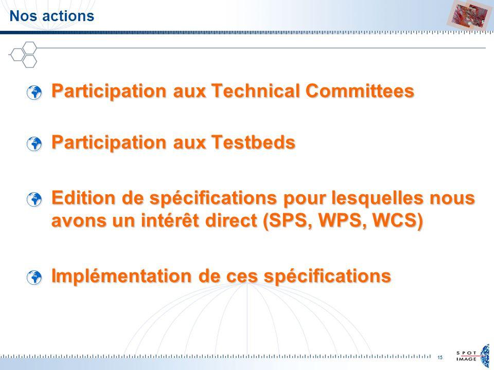 15 Nos actions Participation aux Technical Committees Participation aux Technical Committees Participation aux Testbeds Participation aux Testbeds Edi