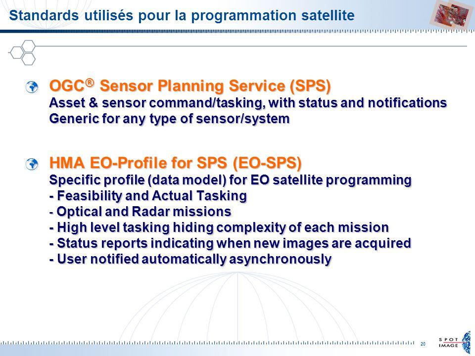 20 Standards utilisés pour la programmation satellite OGC ® Sensor Planning Service (SPS) Asset & sensor command/tasking, with status and notification