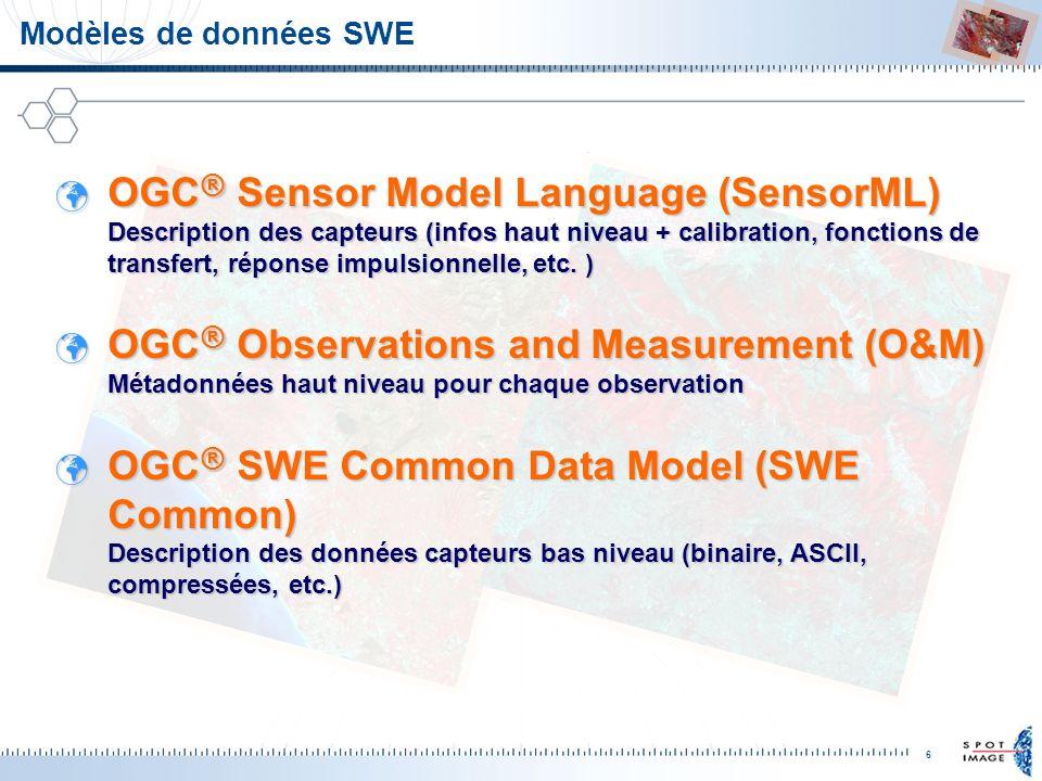 6 Modèles de données SWE OGC ® Sensor Model Language (SensorML) Description des capteurs (infos haut niveau + calibration, fonctions de transfert, rép