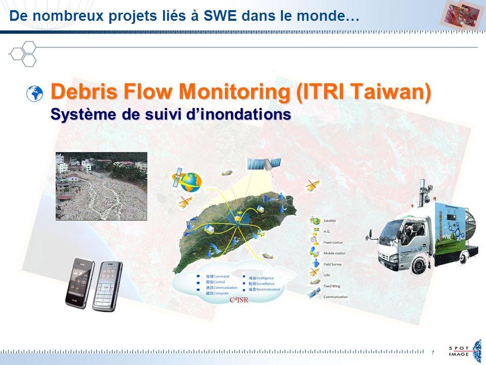 7 De nombreux projets liés à SWE dans le monde… Debris Flow Monitoring (ITRI Taiwan) Système de suivi dinondations Debris Flow Monitoring (ITRI Taiwan