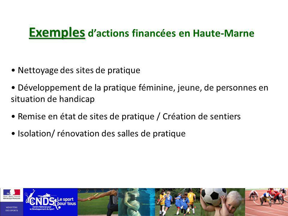 Exemples Exemples dactions financées en Haute-Marne Nettoyage des sites de pratique Développement de la pratique féminine, jeune, de personnes en situ