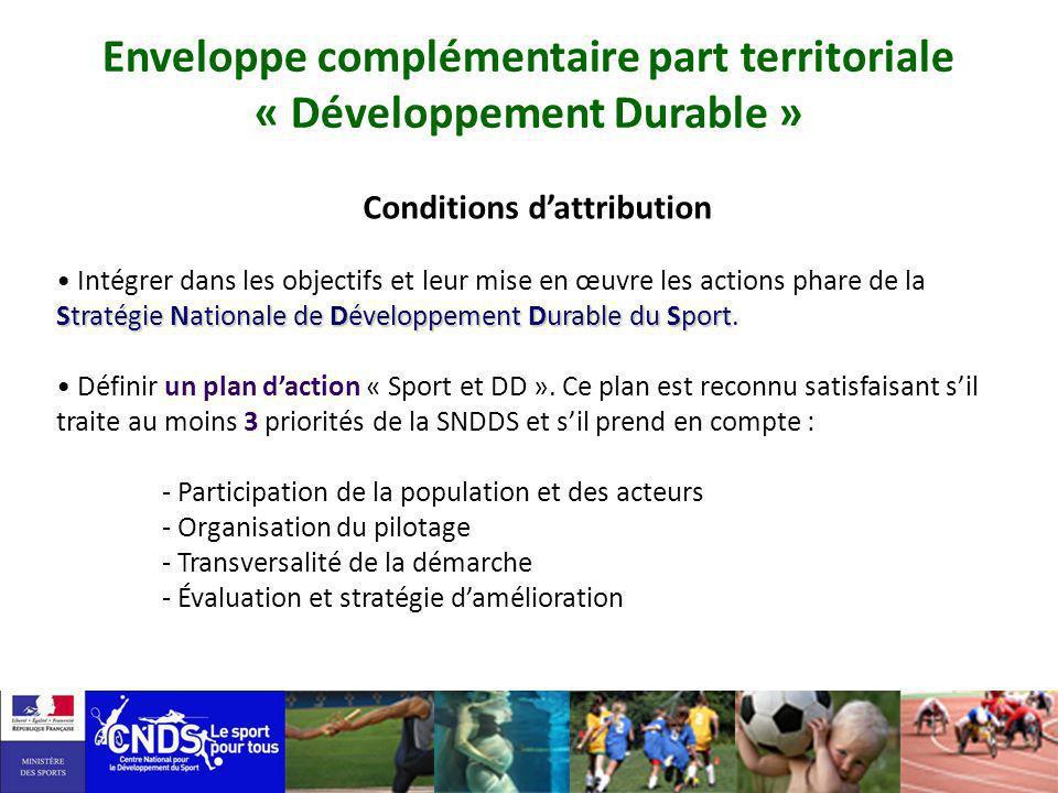 Conditions dattribution Stratégie Nationale de Développement Durable du Sport Intégrer dans les objectifs et leur mise en œuvre les actions phare de l