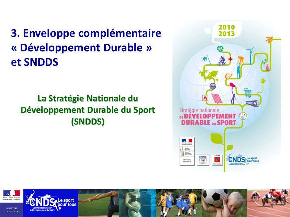 3. Enveloppe complémentaire « Développement Durable » et SNDDS La Stratégie Nationale du Développement Durable du Sport (SNDDS)