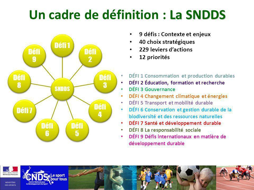 9 défis : Contexte et enjeux 40 choix stratégiques 229 leviers dactions 12 priorités La SNDDS Un cadre de définition : La SNDDS DÉFI 1 Consommation et