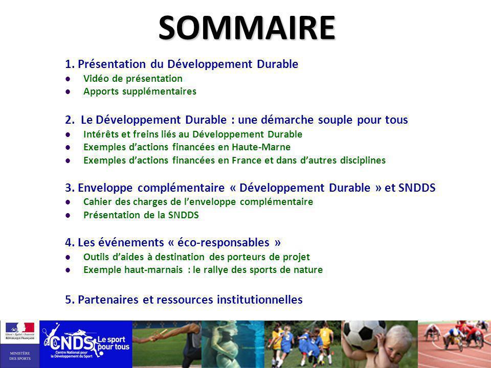 1. Présentation du Développement Durable Vidéo de présentation Apports supplémentaires 2. Le Développement Durable : une démarche souple pour tous Int