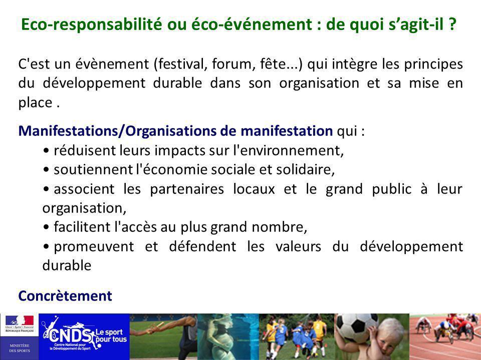 Eco-responsabilité ou éco-événement : de quoi sagit-il ? C'est un évènement (festival, forum, fête...) qui intègre les principes du développement dura