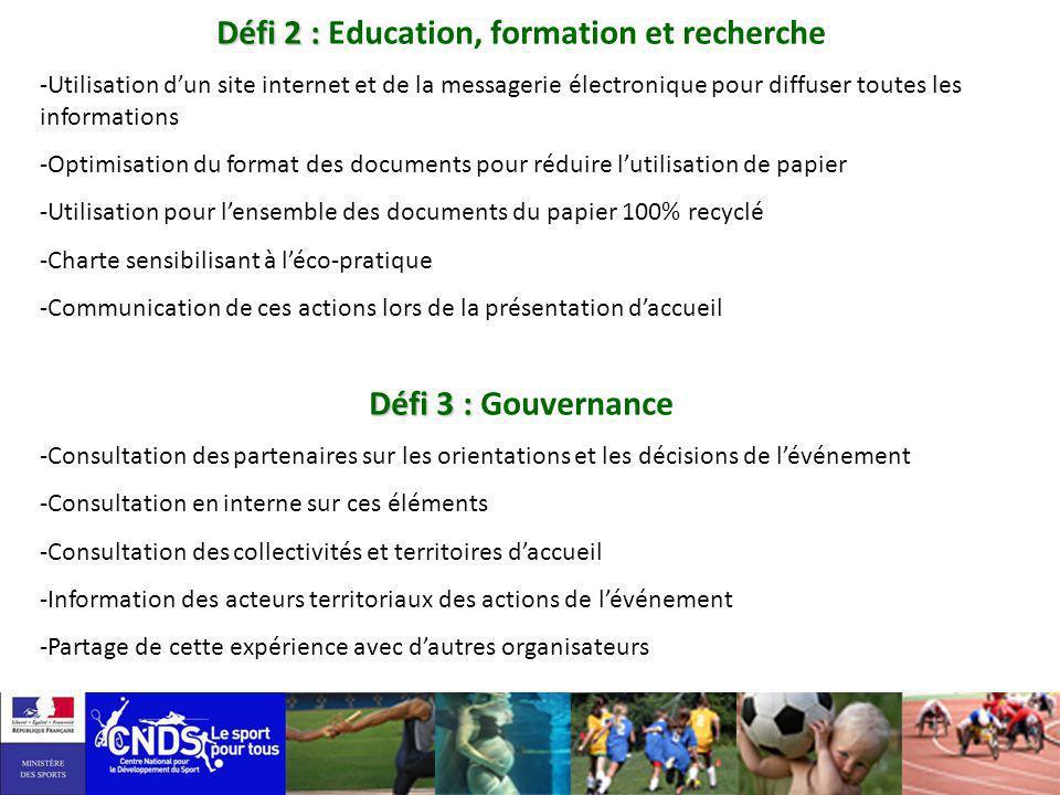 Défi 2 : Défi 2 : Education, formation et recherche -Utilisation dun site internet et de la messagerie électronique pour diffuser toutes les informati