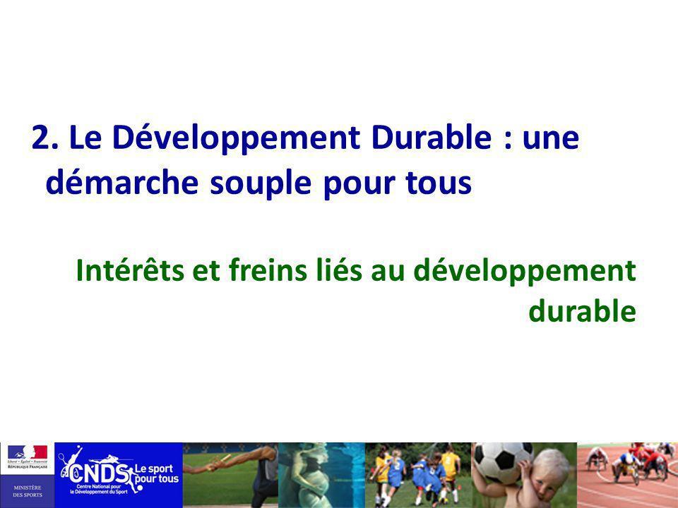 Intégrer Intégrer le Développement Durable dans le sport Une responsabilité : impacts, consommation, GES… Un rôle : valeur éducative, exemplarité….