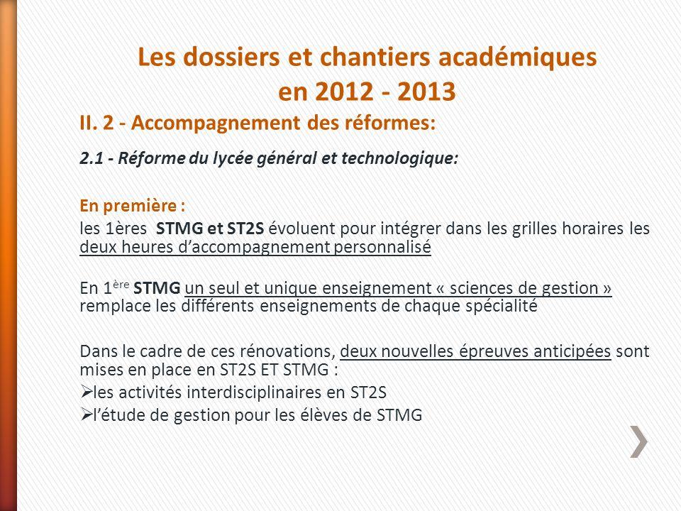 Les dossiers et chantiers académiques en 2012 - 2013 II. 2 - Accompagnement des réformes: 2.1 - Réforme du lycée général et technologique: En première