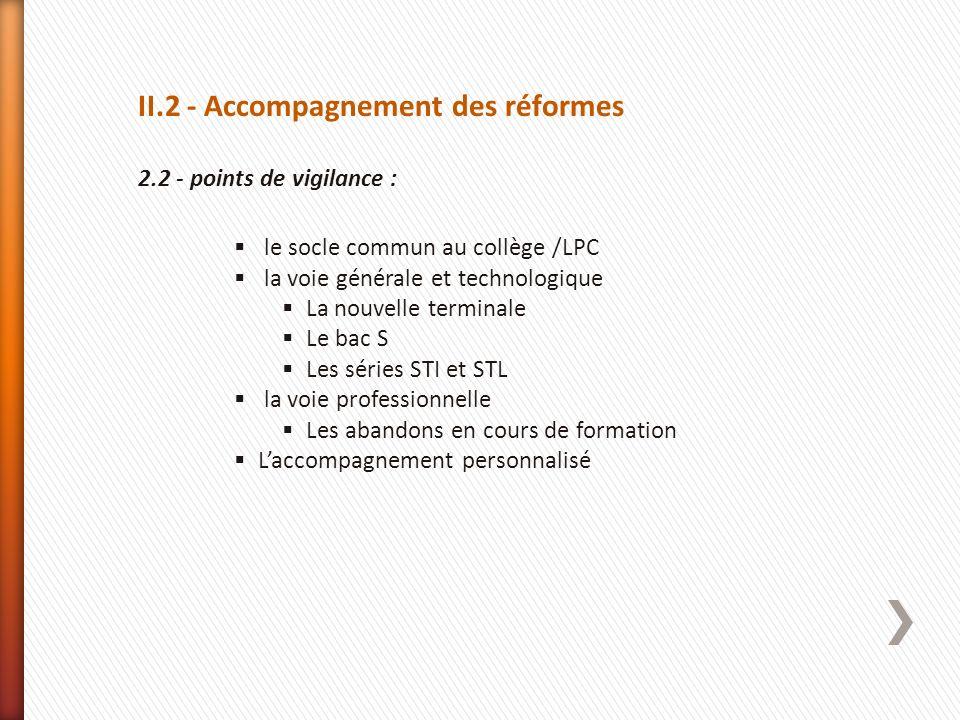 II.2 - Accompagnement des réformes 2.2 - points de vigilance : le socle commun au collège /LPC la voie générale et technologique La nouvelle terminale