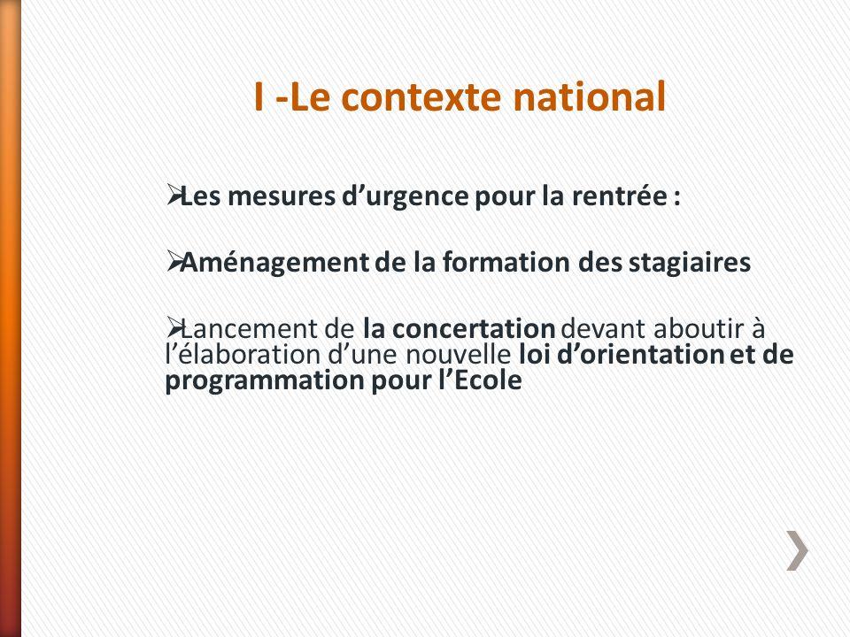I -Le contexte national Les mesures durgence pour la rentrée : Aménagement de la formation des stagiaires Lancement de la concertation devant aboutir
