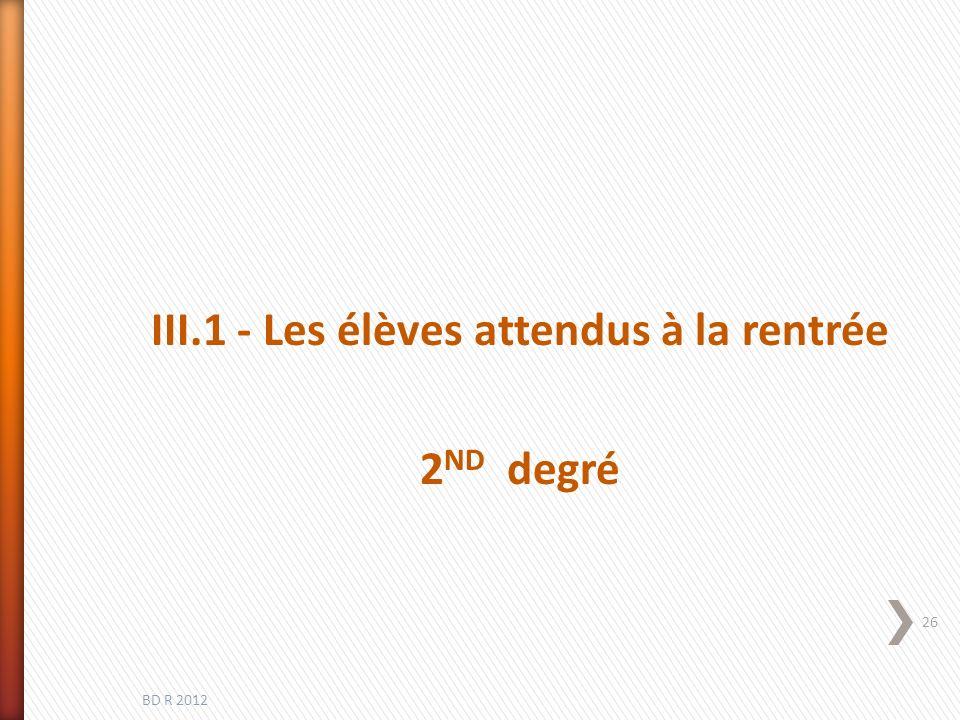 III.1 - Les élèves attendus à la rentrée 2 ND degré BD R 2012 26