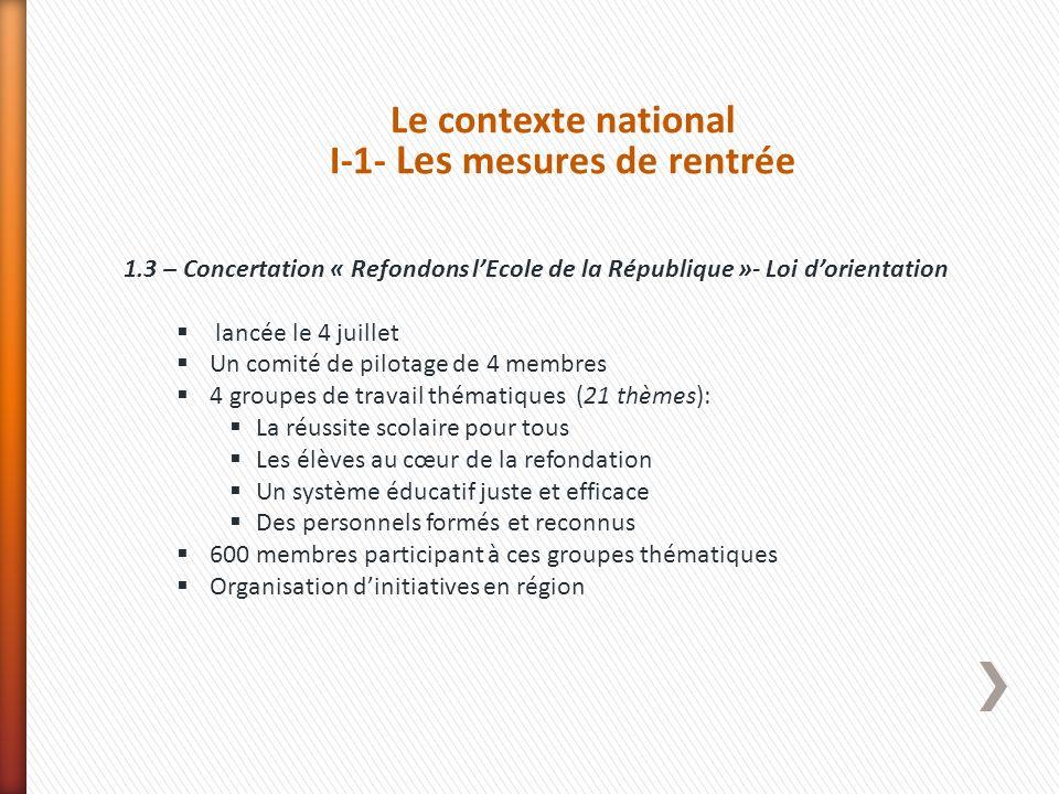 Le contexte national I-1- Les mesures de rentrée 1.3 – Concertation « Refondons lEcole de la République »- Loi dorientation lancée le 4 juillet Un com