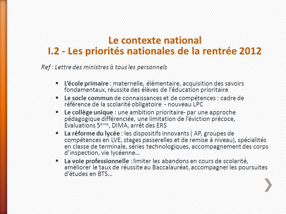 Le contexte national I.2 - Les priorités nationales de la rentrée 2012 Ref : Lettre des ministres à tous les personnels Lécole primaire : maternelle,