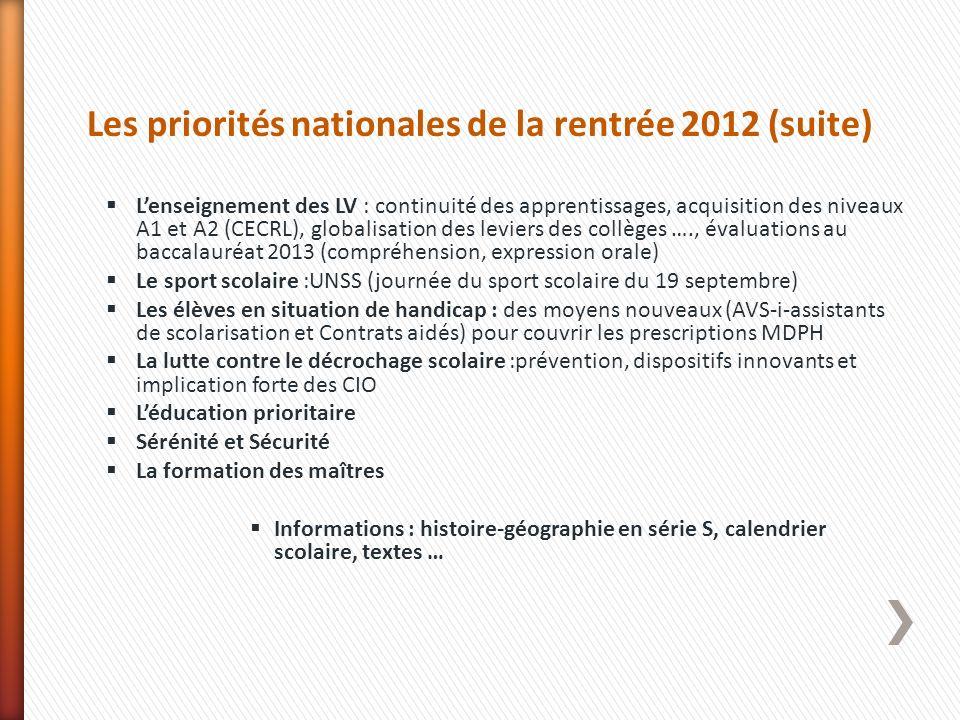 Les priorités nationales de la rentrée 2012 (suite) Lenseignement des LV : continuité des apprentissages, acquisition des niveaux A1 et A2 (CECRL), gl