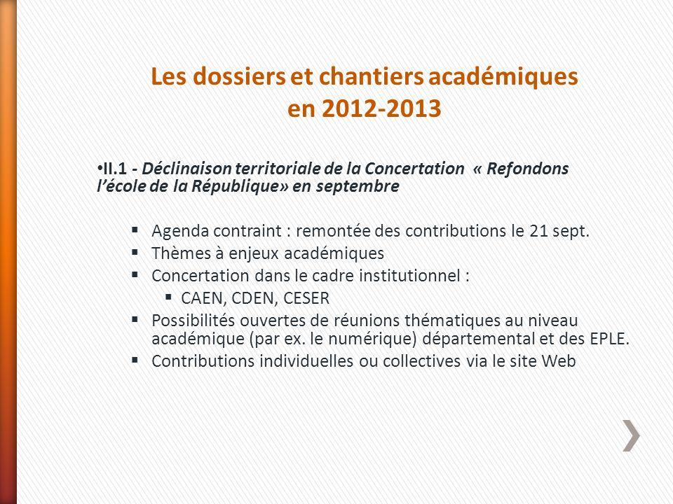 Les dossiers et chantiers académiques en 2012-2013 II.1 - Déclinaison territoriale de la Concertation « Refondons lécole de la République» en septembr