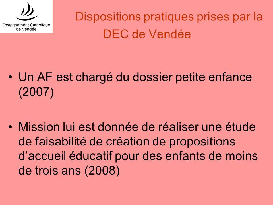 Dispositions pratiques prises par la DEC de Vendée Un AF est chargé du dossier petite enfance (2007) Mission lui est donnée de réaliser une étude de f
