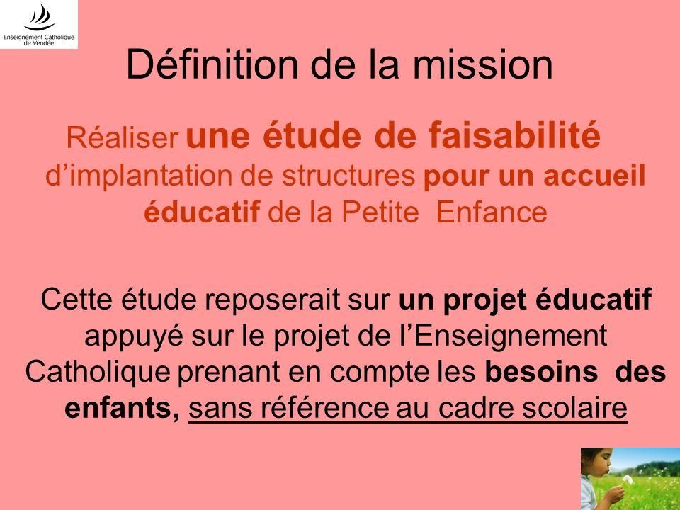 Définition de la mission Réaliser une étude de faisabilité dimplantation de structures pour un accueil éducatif de la Petite Enfance Cette étude repos