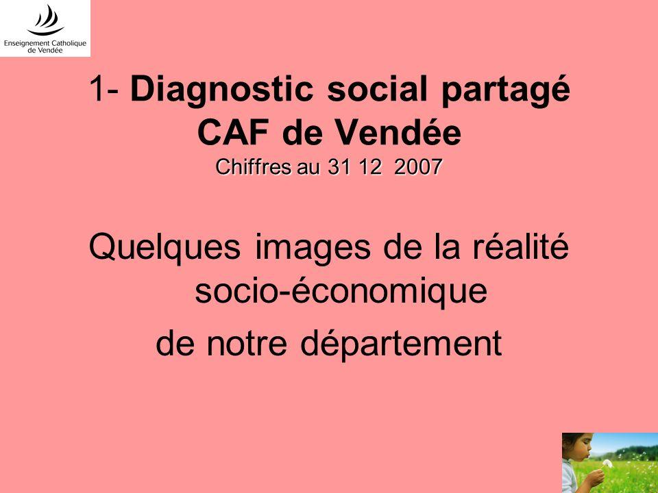 Chiffres au 31 12 2007 1- Diagnostic social partagé CAF de Vendée Chiffres au 31 12 2007 Quelques images de la réalité socio-économique de notre dépar