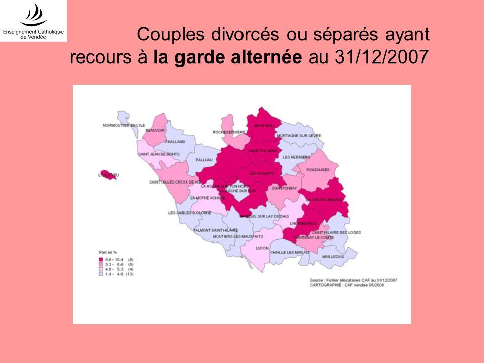 Couples divorcés ou séparés ayant recours à la garde alternée au 31/12/2007