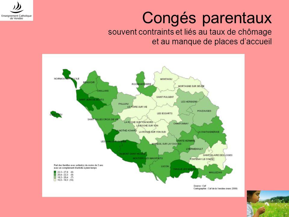 Congés parentaux souvent contraints et liés au taux de chômage et au manque de places daccueil