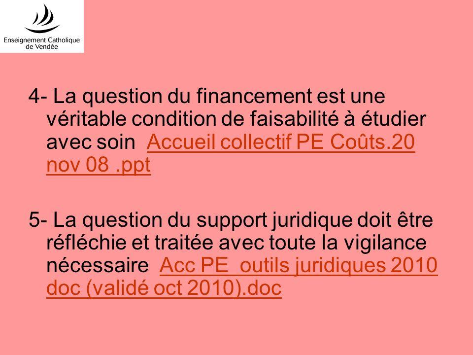 4- La question du financement est une véritable condition de faisabilité à étudier avec soin Accueil collectif PE Coûts.20 nov 08.pptAccueil collectif